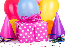 Pink Gift with Polka Dots Stock Images