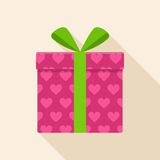 Pink gift, present box icon with green ribbon and bow. Stock Image