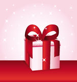 Pink gift with red bow. Present illustration Stock Images