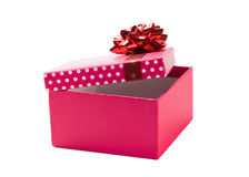 Pink gift with red ribbon. Open pink gift with red ribbon on white background Royalty Free Stock Photos