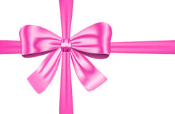 Pink gift ribbon with bow. Nice pink ribbon with bow for gift, cards and decorations. Vector illustration stock illustration