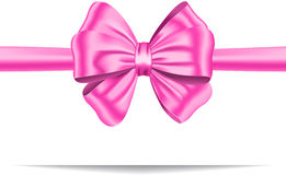 Pink gift ribbon with bow. Pink ribbon with gorgeous bow. Gift card. Vector illustration vector illustration