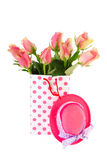 Pink gift roses Stock Photos