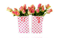 Pink gift roses Stock Photography