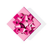 Pink gift top view with pink bow Stock Image