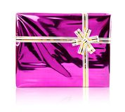 Pink gift with white bow isolated Royalty Free Stock Photos