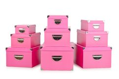 The pink giftboxes isolated on white Royalty Free Stock Photos