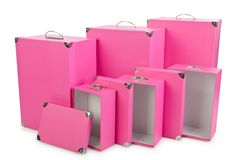 The pink giftboxes isolated on white Royalty Free Stock Photography