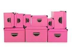 The pink giftboxes isolated on white Royalty Free Stock Image