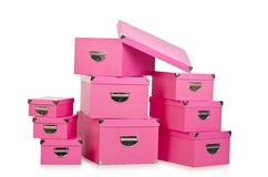 The pink giftboxes isolated on white Royalty Free Stock Photo