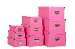 The pink giftboxes isolated on white Stock Photography