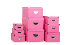 The pink giftboxes isolated on white Royalty Free Stock Images