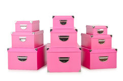 Pink giftboxes on white Royalty Free Stock Photography
