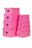 Pink giftboxes  on white Stock Photos