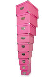 Pink giftboxes  on white Royalty Free Stock Photo
