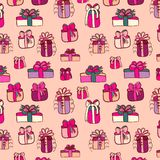 Pink gifts seamless pattern on pink Stock Photography