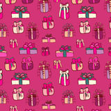 Pink gifts seamless pattern on purple. Pink gifts on bright pink background. Vector hand drawn seamless pattern Royalty Free Stock Photo