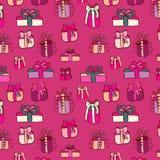 Pink gifts seamless pattern on purple Royalty Free Stock Photo