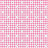 Pink Gingham Fabric with Flowers Background Stock Image