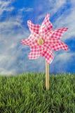 Pink gingham pinwheel toy Royalty Free Stock Photos