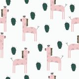 Pink Giraffes seamless pattern vector illustration
