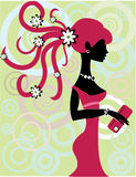 Pink  girl. Image of a cute  girls silhouette Royalty Free Stock Images