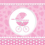 Pink girl baby stroller Royalty Free Stock Photography