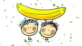 pink girl and blue boy playing with banana