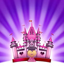 Pink Girl Castle. Representing an elegant magical fairy tale kingdom as a fantasy toy land for little pretty girls and females in celebration of imagination and Stock Photos