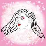 Pink girl fashion silhouette Stock Image