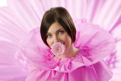 The pink girl with gerbera Stock Image