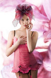 Pink girl with headscarf Royalty Free Stock Image