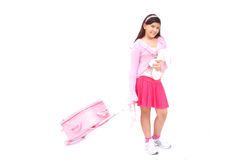 Pink girl with luggage and toy Royalty Free Stock Photography
