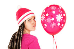 Pink girl. Pink balloon. stock images