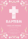 Pink Girl's Baptism/Christening/First Communion/Confirmation Invitation with Watercolor Cross and Floral Design - Vector Stock Photography