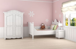 Pink girl's bedroom Stock Photography