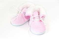 Pink girl's booties Royalty Free Stock Photo