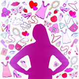 Girl silhouette with female stuff Royalty Free Stock Image
