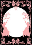 Pink girl silhouettes and floral frame Stock Photos