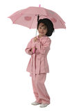 Pink girl with umbrella Stock Photo