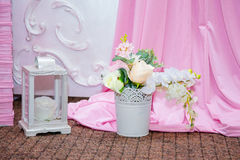 Pink girlish toys and decorations. For a holiday Royalty Free Stock Images