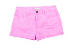 Pink girls jeans shorts. Front. Royalty Free Stock Images
