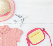 Pink girly child traveler colorful fashion Royalty Free Stock Images