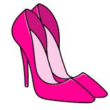 Pink glamor woman new stylish shoes illustration. Isolated image object royalty free illustration