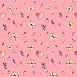 Pink glamorous cartoon valentine pattern. Pink cute cartoon valentine pattern with different elements about love including love letters, roses, glasses, notes Royalty Free Stock Image