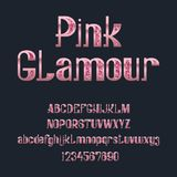 Pink Glamour typeface. Glittering rose font. Isolated ornate english capital and lowercase letters alphabet with numbers.  royalty free illustration