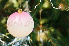 Pink glass ball christmas decoration Royalty Free Stock Photos