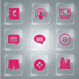 9 Pink Glass Icons. Beautiful Set of 9 pink general vector icon symbols Royalty Free Stock Photography