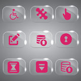 Pink Glass icons Set. Design icons set in glass color pink Royalty Free Stock Photography