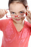 Pink glasses. Beautiful young white girl with pink glasses stock photos